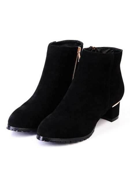 Women's zipper round toe suede rough heels ankle boots online