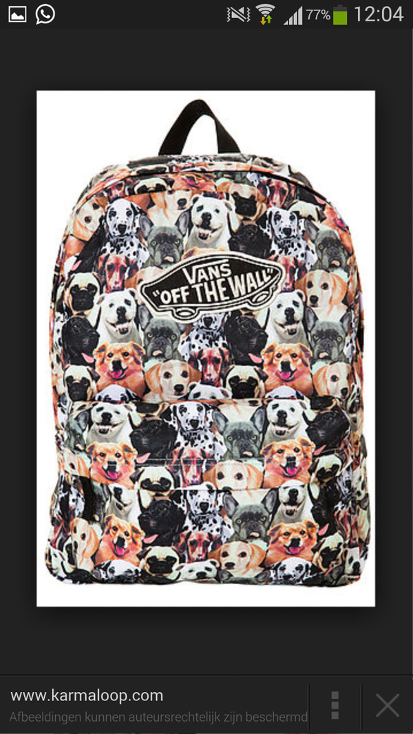 bag vans backpack dog