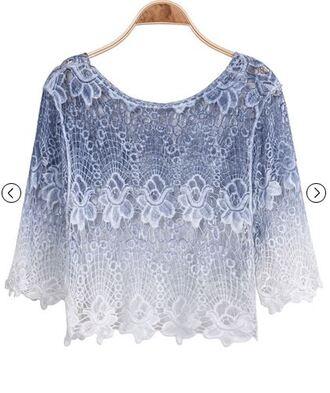 white dentelle shirt blue