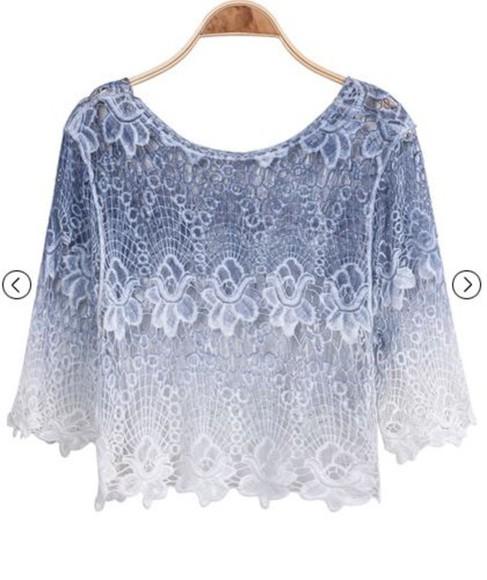 white shirt dentelle blue