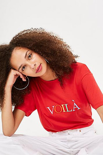 t-shirt shirt embroidered red top