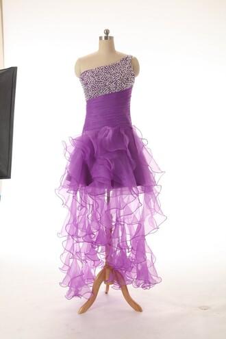 dress purple homecoming dress a line dress floor length dress organza sequins homecoming dress
