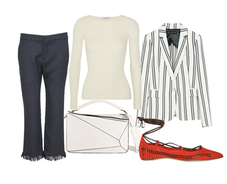 look de pernille blogger cropped pants red shoes flats off-white striped jacket