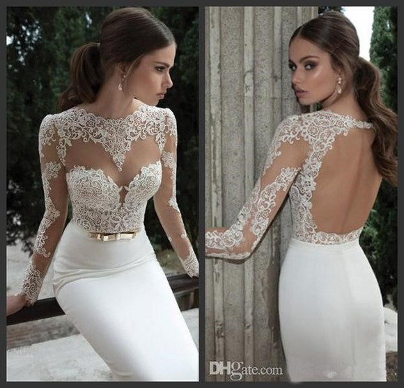 long sleeves mermaid prom dresses backless dress whiteprom gown wedding dress appliaues satin dress wish.com