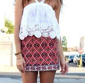 skirt,tribal pattern,orange,pattern,red underwear,fashion,style,topshop,women,summer dress,summer,party dress,party skirt,casual,party,embroidered,floral skirt