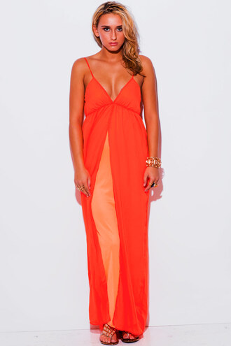 dress neon orange neon coral coral orange maxi maxi dress babydoll evening outfits evening dress chiffon chiffon dress chiffon maxi dress summer outfits