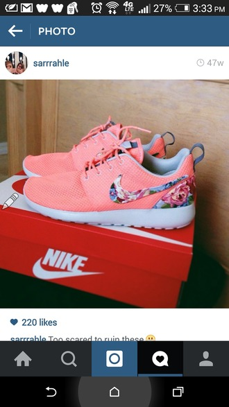 shoes nike roshes peach floral nike roshes floral nike sneakers pink shoes roshe runs