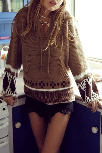 sweater fashion style trendy warm long sleeves ethnic pattern hooded long sleeve jumper winter outfits boho gypsy