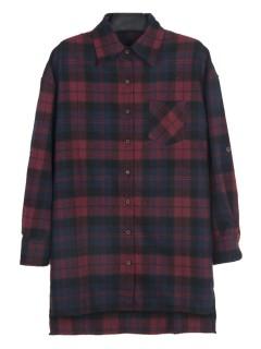 Plaid boyfriend longline shirt