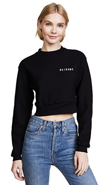 Re/Done pullover sweatshirt weave black sweater