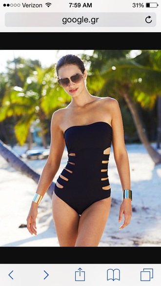 swimwear black one piece cutout