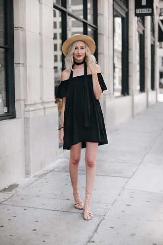 carly cristman blogger hat dress off the shoulder black dress straw hat mini dress lace up flats summer dress lace up short dress off the shoulder dress sandals flat sandals gladiators black off shoulder dress summer black dress