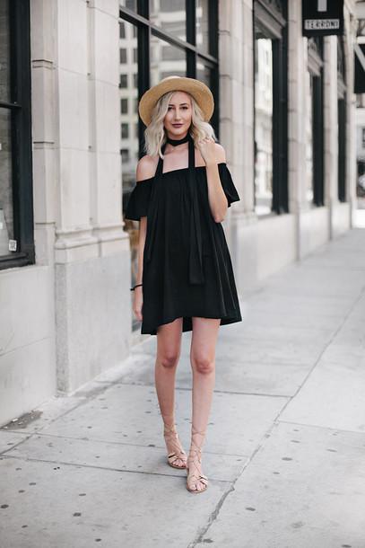 carly cristman blogger hat dress off the shoulder black dress straw hat  mini dress lace up 37943256e3f