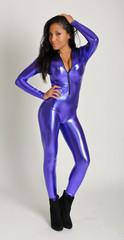 Purple Wet Look Catsuit