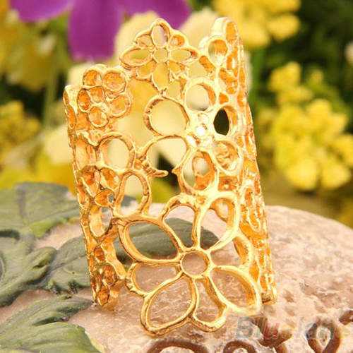 Women Fashion Hollow Flower Alloy Opening Wide Cuff Ring Black Gold Jewelry BE2A | eBay