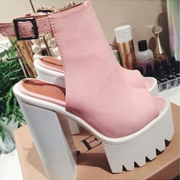 Shoes: light pink shoes pink heels pink chunky shoes big heels