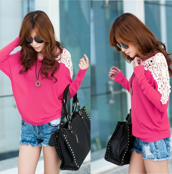 Free Shipping 2013 Autumn Women's Long sleeve Bats Shirts Female O neck Lace Loose Pullover Sweater Top LSP8947-inPullovers from Apparel & Accessories on Aliexpress.com