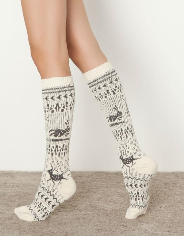 Womens Beige Boot Socks With Snowflake & Deer Knee Socks Mid-calf ...