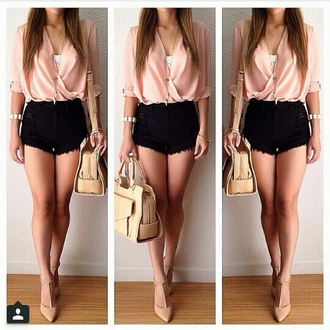 blouse shirt shorts mini shorts mid sleeve t-shirt outfit evening outfits jewels pink summer summer outfits shoes women top please find his i want this lots pink top gold cross necklace high waisted black wannakissu skirt elegant clothes