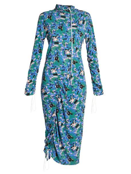 Abstract-print crepe-jersey midi dress
