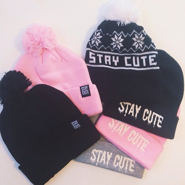 hat cute stay winter outfits dope winter hat pink puffball beanie