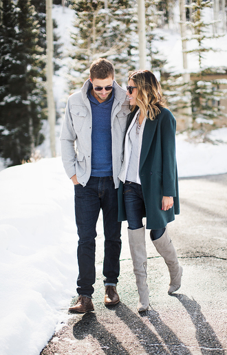 hello fashion blogger boyfriend winter outfits menswear mens coat winter coat forest green jacket coat tank top shoes jewels sunglasses sweater