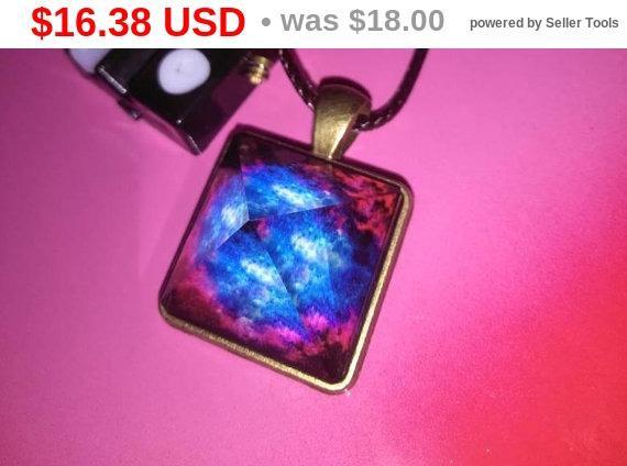 JUNETEENTH SALE PRICES Galaxy handmade cosmic glowing prism pyramid pendant boho necklace nebula crystal choker gypsy hippie style jewelry