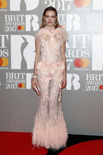 dress natalia vodianova gown wedding dress feather dress feathers brit awards