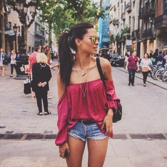 shirt hot pink off the shoulder top top red off shoulder top red top off the shoulder denim shorts denim shorts short shorts blue shorts belt bag black bag shoulder bag summer outfits sunglasses mirrored sunglasses