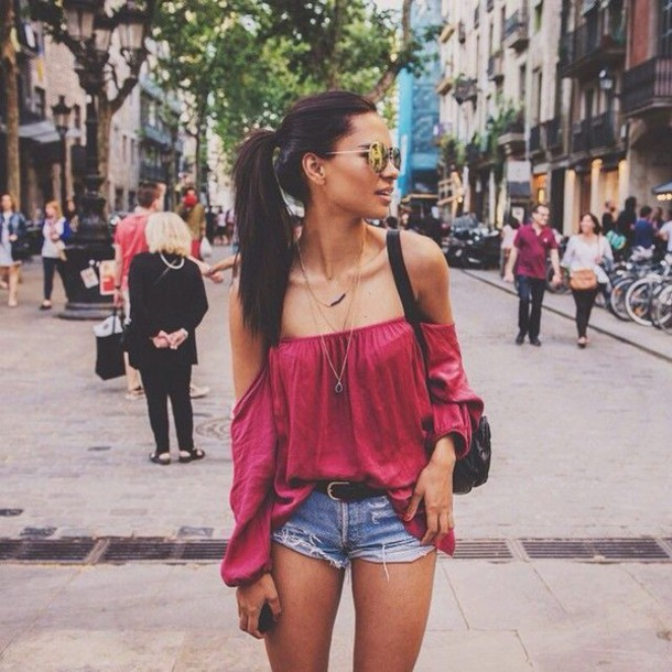 653a7038977 shirt hot pink off the shoulder top top red off shoulder top red top off the