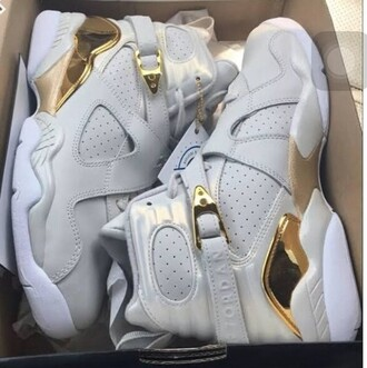 shoes white gold jordan's jordans