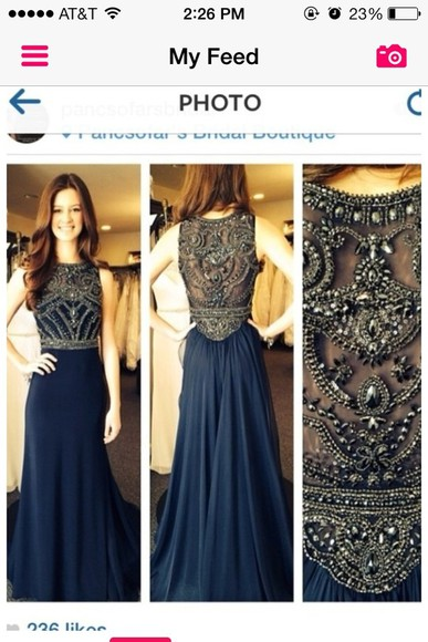 dress beaded navy gold