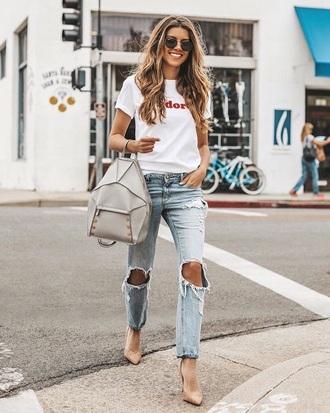 jeans blue jeans light blue jeans bag ripped jeans pumps pointed toe pumps white t-shirt t-shirt