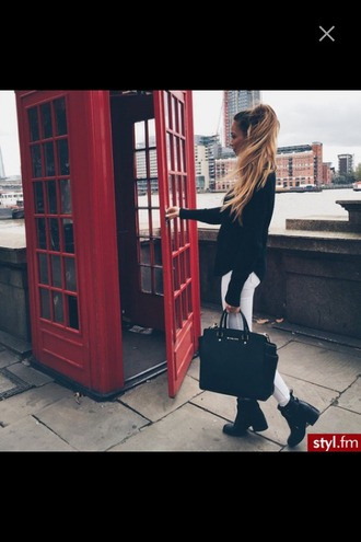 jeans ombre ombre hair london phone booth boots bag blouse sweater white jeans classy chiffon knitwear pretty