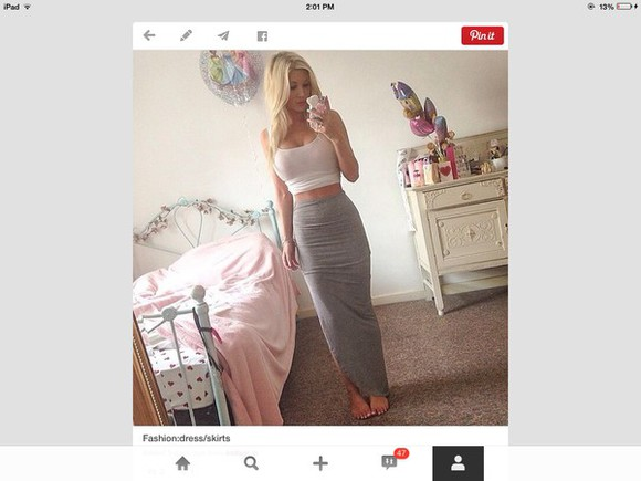 white tank top skirt long grey skirt