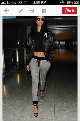 sweatpants rihanna hoodie jacket sunglasses