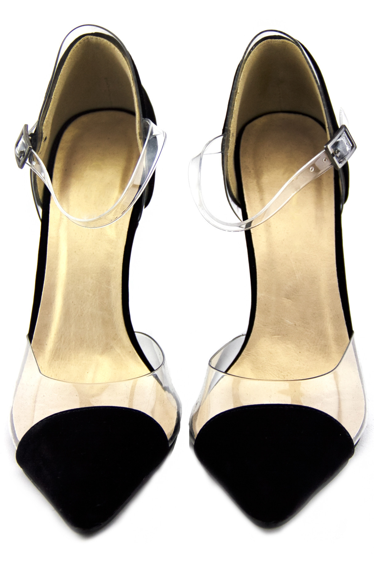 CLEAR CONTRAST POINTY HIGH HEEL PUMP | Haute & Rebellious