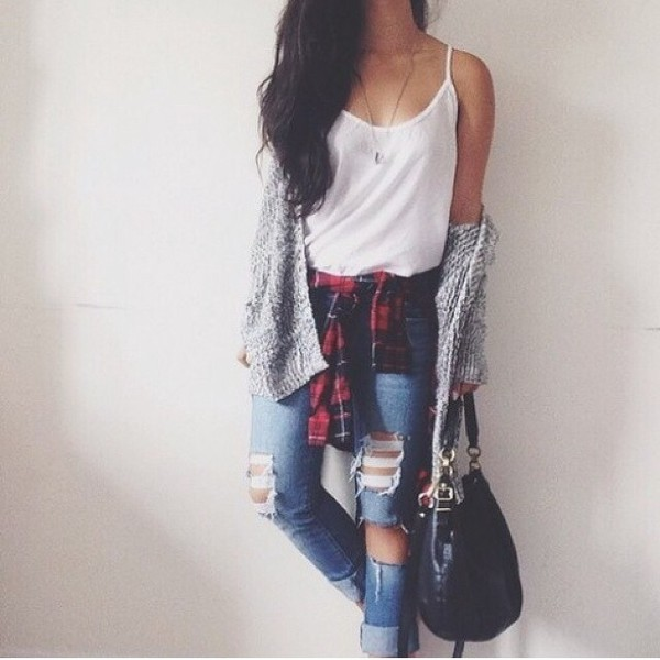 shirt checkered checked shirt top tank top tanktop. white white top white tank top jeans denim jacket grey cardigan bag black black bag leather bag