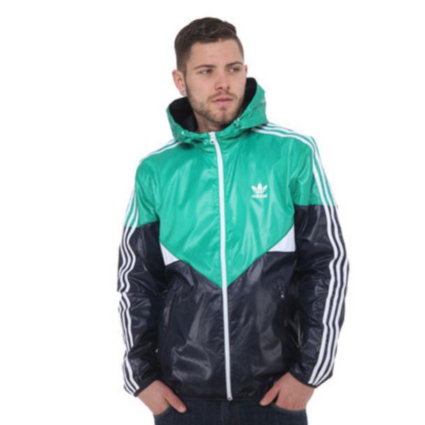 jacket adidas romper guys gir blue navy teal hoodie stripes sportswear cold long sleeves