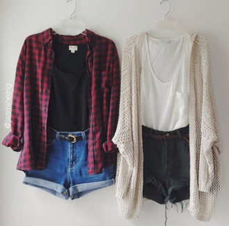 shorts cut offs cutoff shorts flannel knitted cardigan oversized cardigan shirt cute sweater t-shirt denim red white black belt