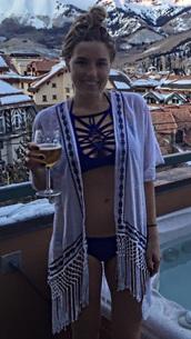 swimwear,blue,strappy,high neck bikini