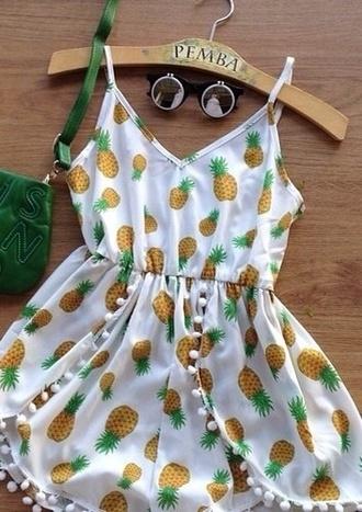 dress pineapple white summer romper sunglasses