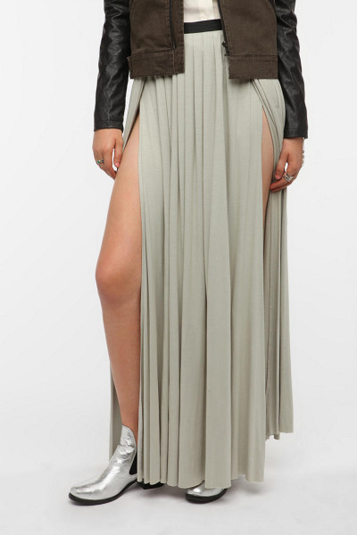 Outfitters Ecote Double Slit Maxi Skirt in Gray (LIGHT GREY) | Lyst