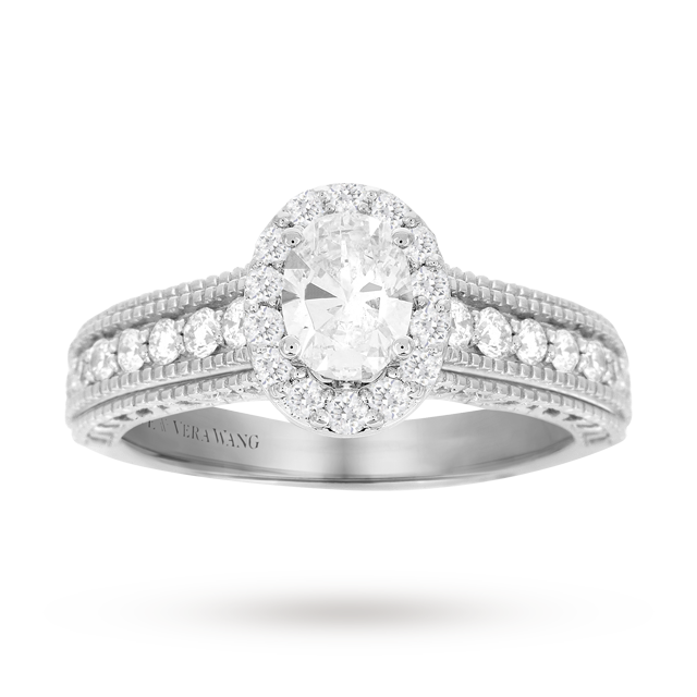 Vera Wang Love oval cut 0.95 carat total weight solitaire diamond ring with diamond set shoulders in 18 carat white gold | Goldsmiths