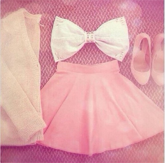 white bow top top pink skirt bow bandeau cardigan blouse