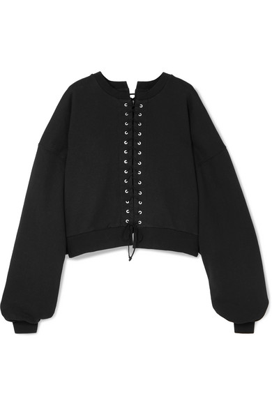 Unravel Project - Cropped lace-up cotton-terry sweatshirt