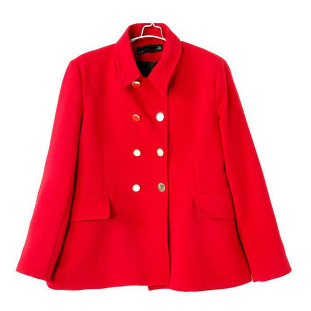 Coat: short coat, bell shape coat, red coat, chic coat - Wheretoget