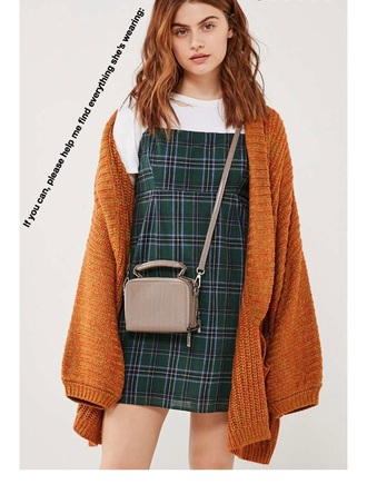 dress plaid purse green orange white shirt lovely plaid dress red yellow cardigan sweater fall outfits cute outfits outfit aesthetic