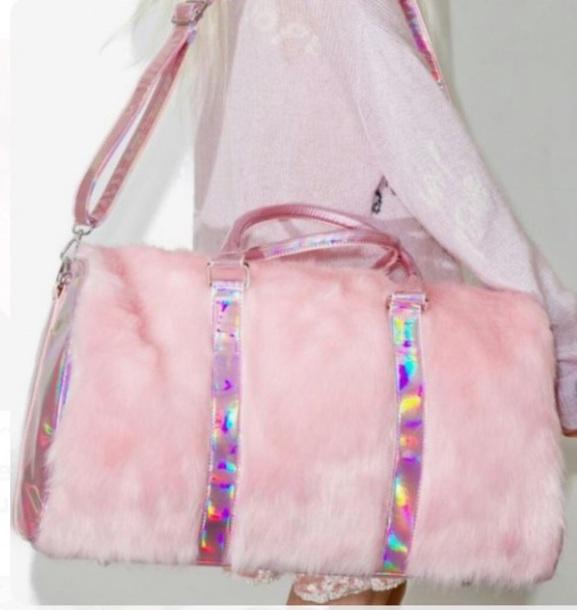 bag pink furry bag