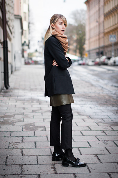 chaloth blogger scarf black coat cropped pants jacket dress top pants shoes jewels belt